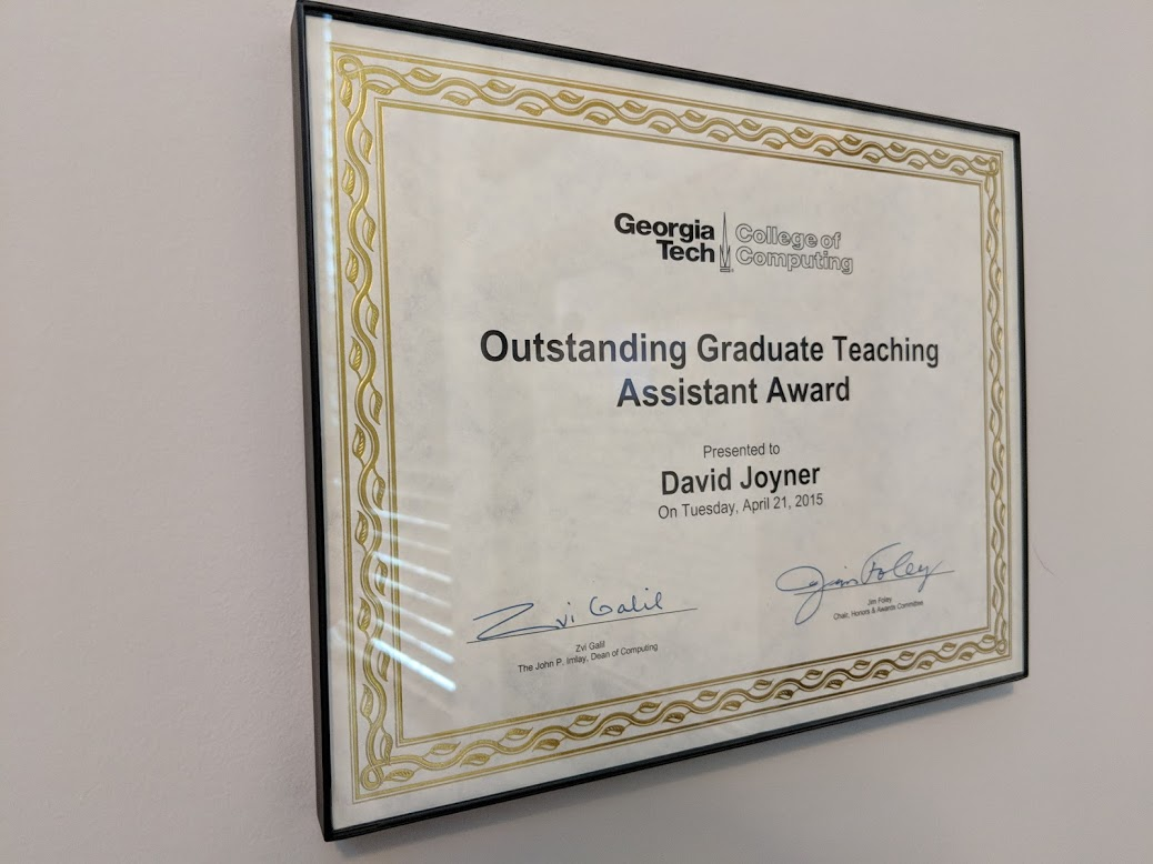 I've won the College of Computing Outstanding Graduate Teaching