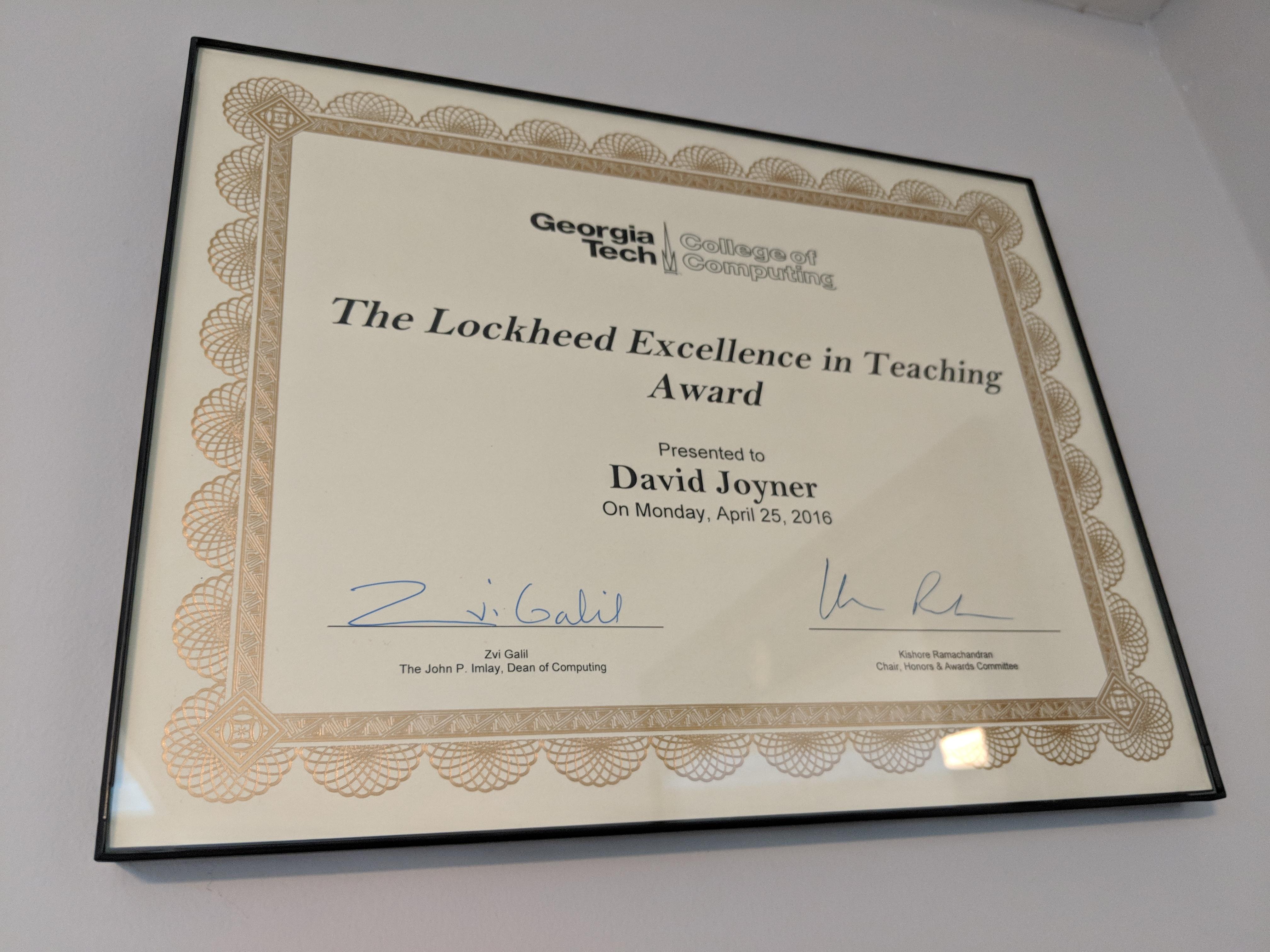 excellence teaching award georgia tech lockheed won david ve